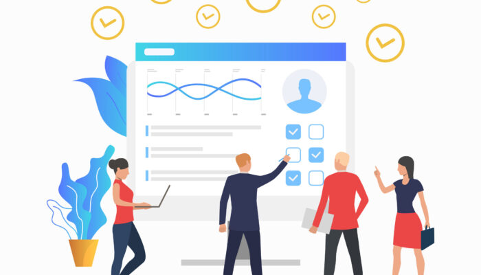 Managers looking at chart on monitor. Personal productivity, competence, candidate. Productivity concept. Vector illustration can be used for topics like headhunting, human resources, business